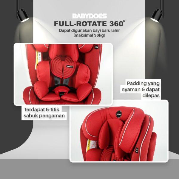 Babydoes Full Rotate 360 Isofix Carseat – Black 5