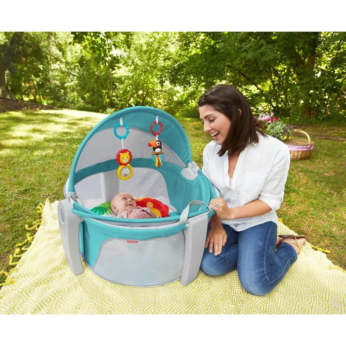 Gear Fisher Price On-the-Go Baby Dome (Rainforest) Portable Mainan & Kasur