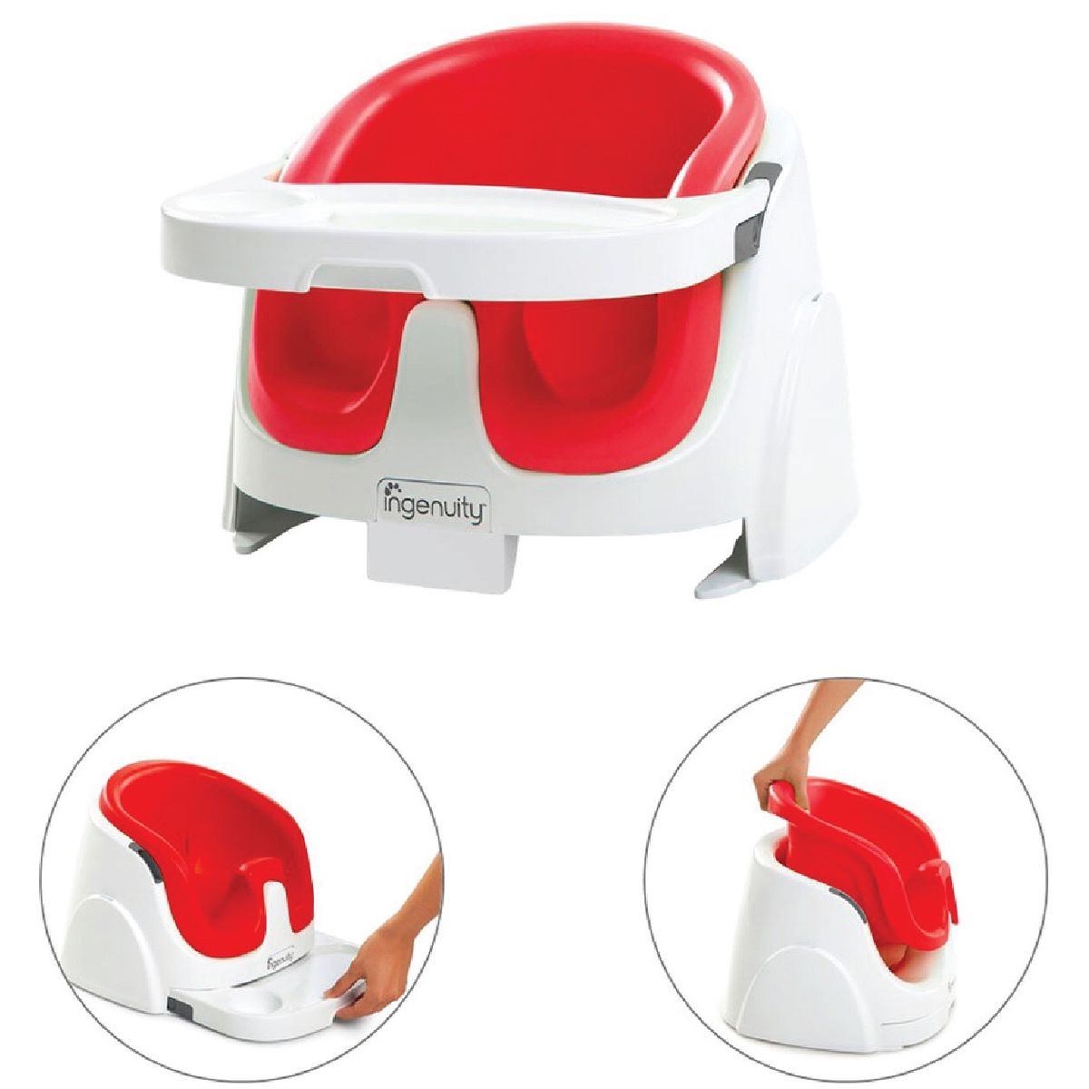 Booster & High Chair Ingenuity Baby Base 2-in-1 Booster Seat – Poppy Red