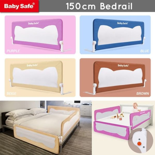 Safety Bed Rail Baby Safe Bed Rail Pengaman Kasur 150cm – Brown