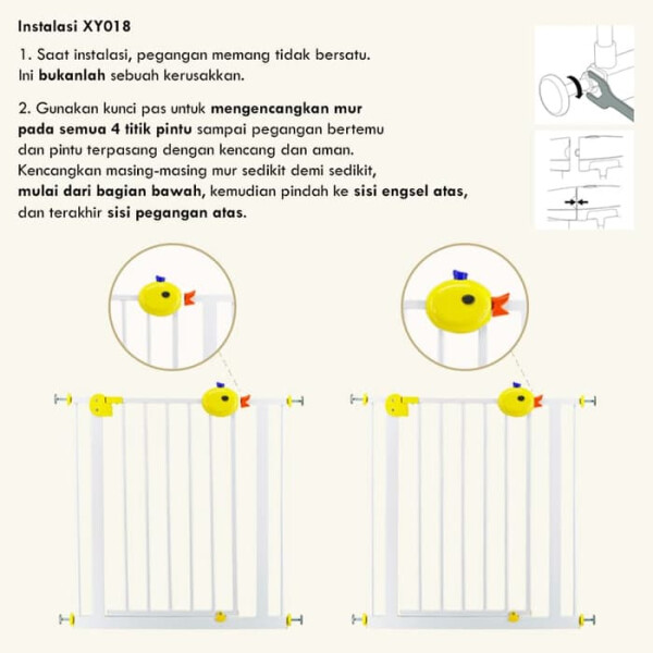 Baby Safe Door & Safety Gate XY009 75-85cm – White / Grey 3