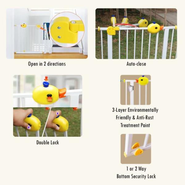 Baby Safe Door & Safety Gate XY009 75-85cm – White / Grey 4