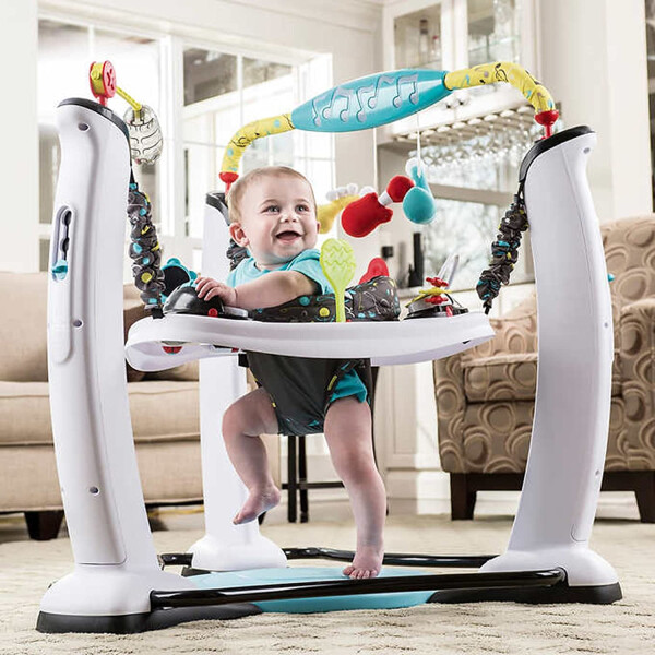 Toys Evenflo Exersaucer Jump and Learn Jumperoo – Jam Session Blue