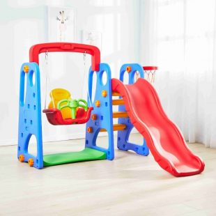 Happy Play Colorful Slide Swing – Red Blue
