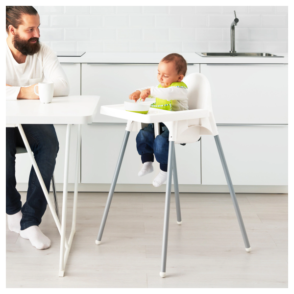 Gear Ikea Antilop Baby High Chair With Tray – White (Tanpa Sabuk Pengaman)