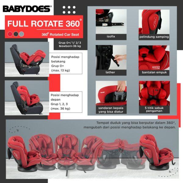 Babydoes Full Rotate 360 Isofix Carseat – Black 3