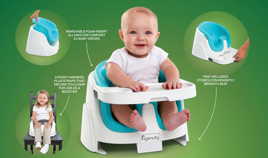 Booster & High Chair Ingenuity Baby Base 2-in-1 Booster Seat – Peacock Blue