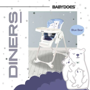 BabyDoes CH-012BP Diners High Chair – Blue Bear