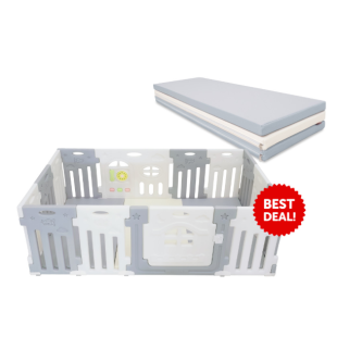 Safety Lumba 12+2 Airplane Monochrome Fence + Folding Playmat – TYPE B PERSEGI PANJANG