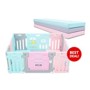 Lumba 10+2 Airplane Blue Pink Fence + Folding Playmat
