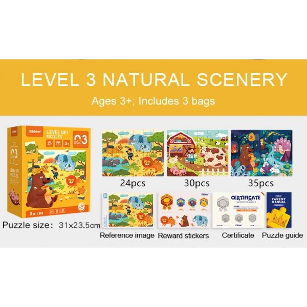 Mideer Advance Level 3 Puzzle – Scenery (3 Pouch) 2