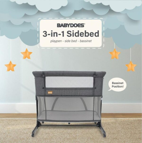 Nursery BabyDoes 3in1 Side Bed Baby Box – Dark Grey