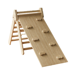 Toys Pikler Triangle With Slide & Rock Climbing – Natural