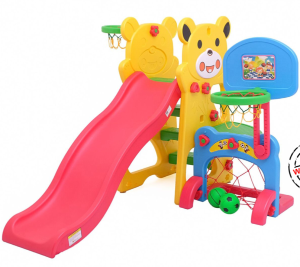 Toys Labeille Panda Slide with Football & Basketball – Yellow